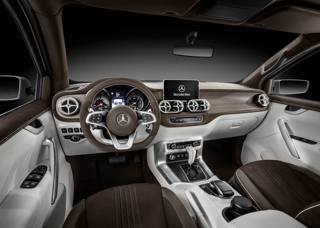 Mercedes-Benz Concept X-CLASS stylish explorer – Interior, Mix of white nappa leather and brown nubuck leather;