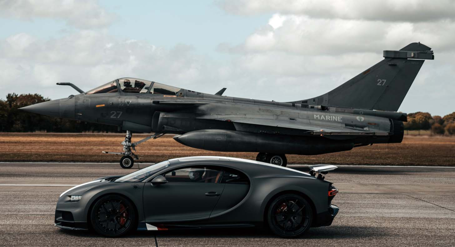 Bugatti Chiron Sport Meets Dassault Rafale Marine